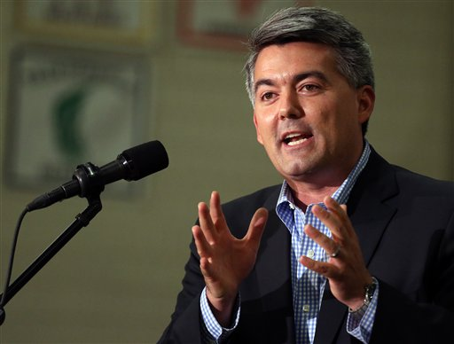 In this Sept. 29, 2014 photo, Rep. Cory Gardner, R-Colo., who is running for the U.S. Senate seat held by Democratic Senator Mark Udall, speaks at a political rally at Heritage High School, in Littleton, Colo.  Democrats defending their Senate majority this year are increasingly relying on an issue once seen as a wash with voters: reproductive rights. Udall has made it a centerpiece of his campaign to stave off a strong challenge from Gardner. (AP Photo/Brennan Linsley)