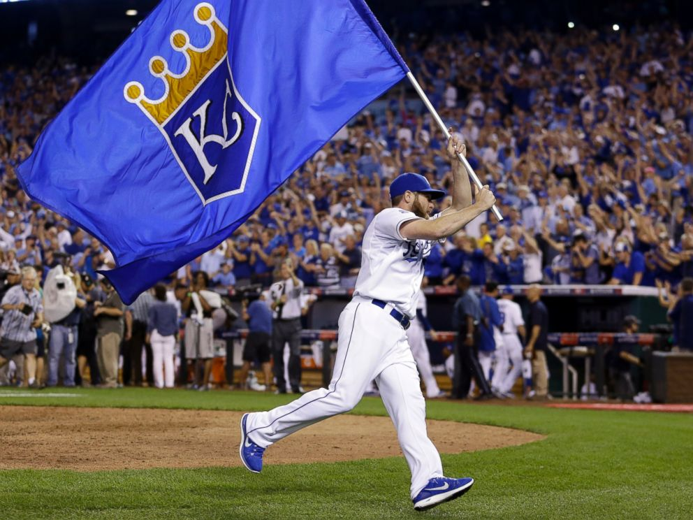 Kansas City Royals' Greg Holland celebrates after the Royals' 9-8 victory over the Oakland Athletics, Sept. 30, 2014, in Kansas City, Mo. (AP Photo)