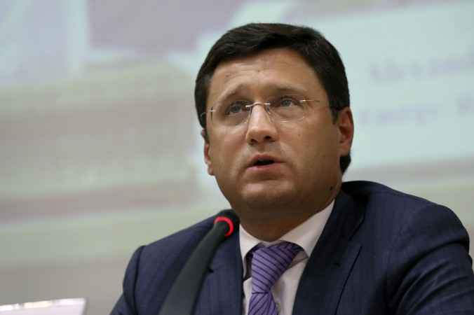 Russian Energy Minister Alexander Novak speaks during a joint meeting with Iranian traders in Tehran, Iran, on Sept. 9, 2014. Russian officials have traveled to Iran's capital to boost economic ties between the two countries. Iran's Oil Minister Bijan Zanganeh and Novak oversaw a meeting Tuesday of businessmen in Tehran, calling on them to increase trade. (AP Photo/Vahid Salemi)