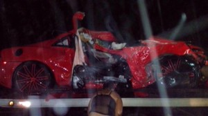 In this handout photo provided by the Metropolitan Transportation Agency shows the heavily damaged vehicle in which Dominican baseball player Oscar Taveras was killed along with a young woman passenger, near the city of Puerto Plata, Dominican Republic, Oct. 26, 2014.  St. Louis Cardinals outfielder Oscar Taveras, a 22-year-old slugger who was regarded as one of the majors' top prospects. (AP Photo/Metropolitan Transportation Agency)