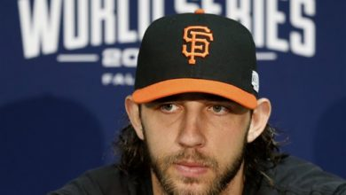 Photo of Bumgarner Against Shields in World Series Opener
