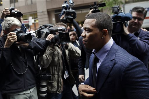 Ray Rice arrives for an appeal hearing of his indefinite suspension from the NFL, Wednesday, Nov. 5, 2014, in New York. (AP Photo/Seth Wenig)