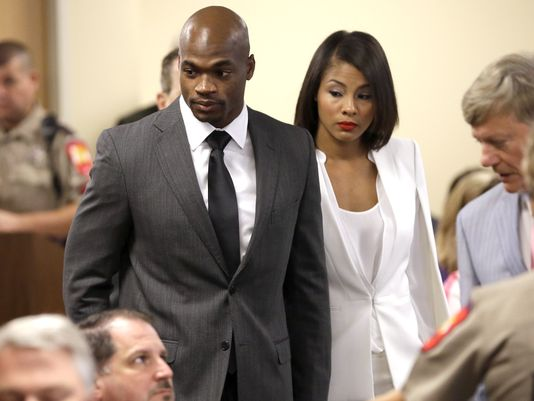Adrian Peterson, appearing in court on Oct. 8, was back in a Montgomery County courtroom on Tuesday. (David J. Phillip/AP Photo)