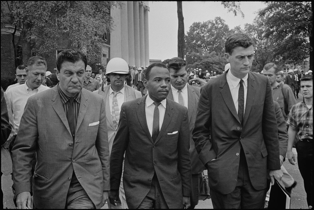 James Meredith integrates Ole Miss, flanked by Justice Department agent, John Doar (right) and U.S. Marshall James McShane (left).
