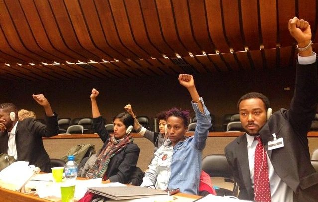 Photo of UN Committee Hears about Violations in Ferguson, Mo.