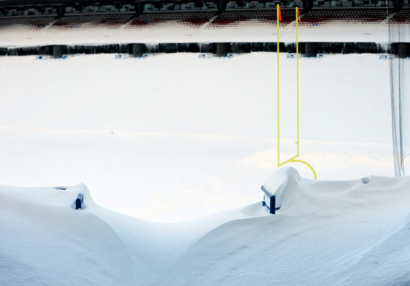Ralph Wilson Stadium, the Buffalo Bills' home field, in Orchard Park, N.Y., on Friday, after winter storms had left as much as six feet of snow across the region. (Gary Wiepert/Associated Press)