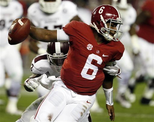 Alabama quarterback Blake Sims (6) runs with the ball away from Mississippi State linebacker Matthew Wells during the second half of an NCAA college football game on Saturday, Nov. 15, 2014, in Tuscaloosa, Ala. (AP Photo/Butch Dill)