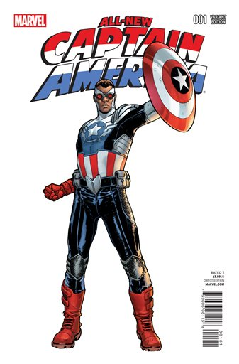 """This comic book cover image released by Marvel shows the """"All-New Captain America."""" Marvel Comics and DC Comics are leading a push for diversity in their industry's mainstream characters. The new black Captain America comic book debuted in November. (AP Photo/Marvel)"""