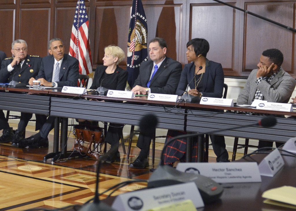 President Obama and senior staff gets an earful from Ferguson youth leaders. (NNPA Photo by Freddie Allen)