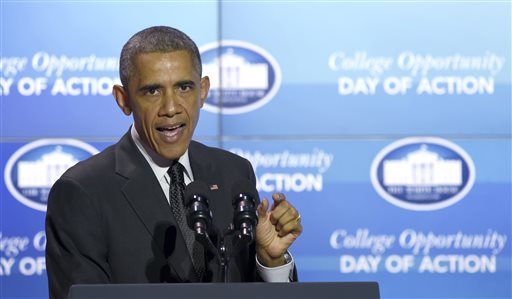 President Barack Obama speaks about the recent police issues before talking about education at the Summit on College Opportunity, Thursday, Dec. 4, 2014, at the Ronald Reagan Building in Washington. On Wednesday, a grand jury decided not to charge a white police officer in the chokehold death of a black man.  (AP Photo/Susan Walsh)