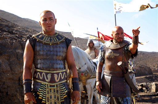 "This image released by 20th Century Fox shows Joel Edgerton, left, and Dar Salim in a scene from ""Exodus: Gods and Kings.""  (AP Photo/20th Century Fox, Kerry Brown)"
