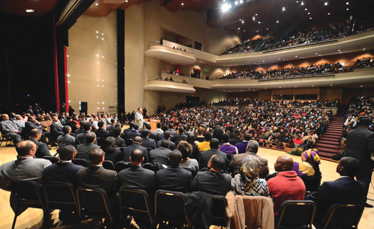 After more than a 29-year-old absence from Morgan State University, the Honorable Minister Louis Farrakhan speaks to a packed auditorium on Nov. 22 at the Murphy Fine Arts Center. More than 2,000 people including students, community leaders and distinguished guests came to hear the timely lecture given by the 81 one-year old Nation of Islam leader. (Mikal Veale/choiceimagery)