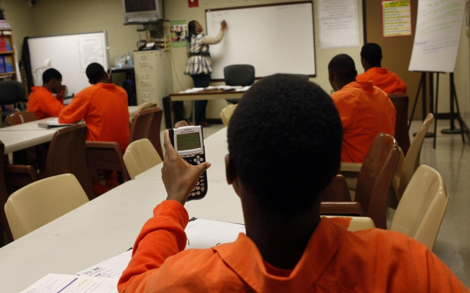 A math class at the Shelby County Juvenile Detention Center, in Memphis, Tenn. (Alan Spearman/AP)