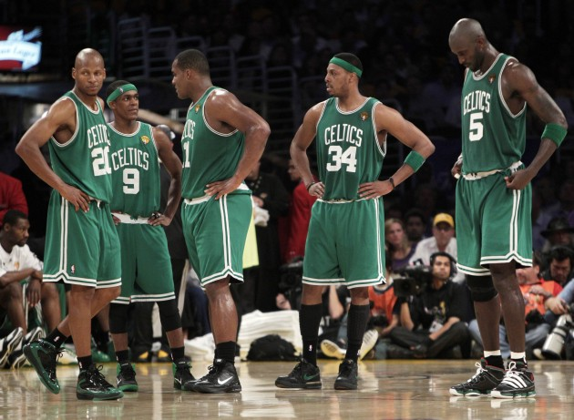 From left, Boston Celtics' Ray Allen, Rajon Rondo, Glen Davis, Paul Pierce and Kevin Garnett gather during a timeout in the second half of Game 6 of the NBA Finals. (AP Photo)