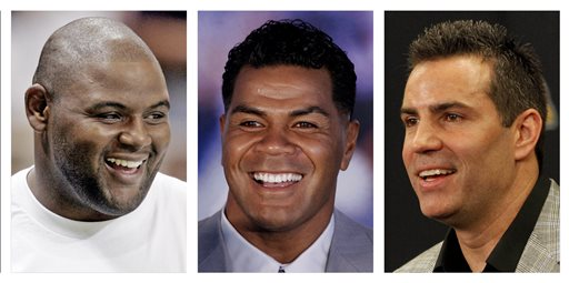 From left are Orlando Pace in a 2006 file photo, Junior Seau in a 2006 file photo and and Kurt Warner in a 2010 file photo. Pace, Seau and Warner are first-year eligible nominees among the 15 modern-era finalists who will be considered for election to the Pro Football Hall of Fame when the Hall's selection committee meets in Phoenix on Saturday, Jan. 31. (AP Photo/File)