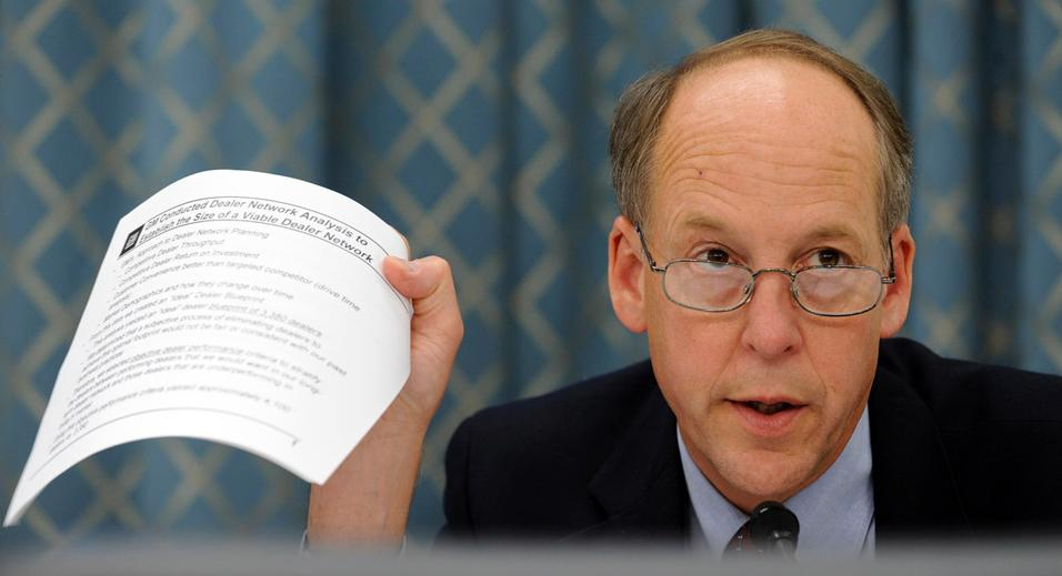 House Energy and Commerce subcommittee ranking Republican Rep. Greg Walden, R-Ore, asks questions of the witnesses during the subcommittee's hearing on auto dealership closures, Friday, June 12, 2009, on Capitol Hill in Washington. (AP Photo/Susan Walsh)