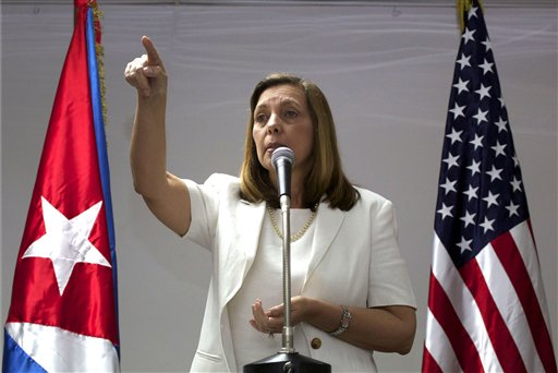 Cuba's head of North American affairs Josefina Vidal, speaks during a briefing after taking part in talks with the U.S. representatives, in Havana, Cuba, Thursday, Jan. 22, 2015. The United States and Cuba are trying to eliminate obstacles to normalized ties as the highest-level U.S. delegation to the communist island in more than three decades holds a second day of talks with Cuban officials. (AP Photo/Desmond Boylan)