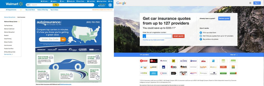Walmart and Google have recently established websites that allow consumers to compare the premiums of various companies for auto, home and other types of insurance, and buy policies.  Both companies have entered partnerships with insurers. (Courtesy of New York Times)