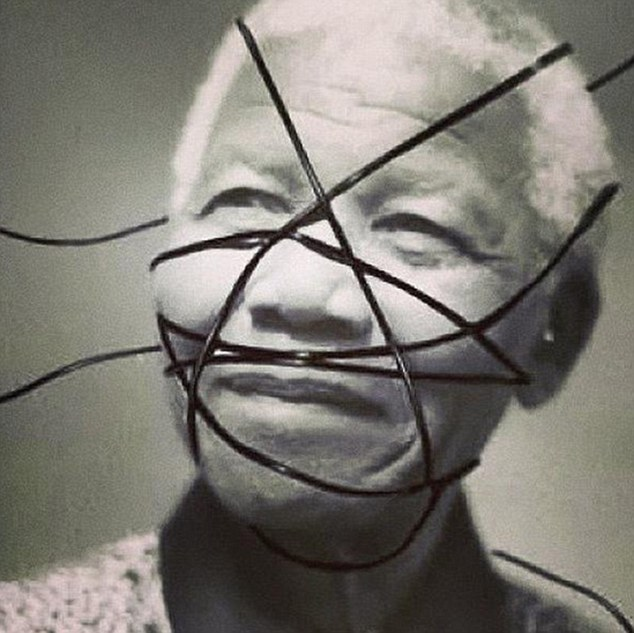 """Madonna captioned this altered image of Nelson Mandela: """"This #rebelheart fought for freedom!"""""""