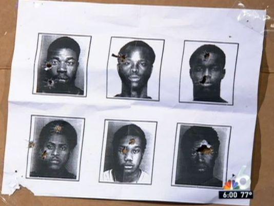 North Miami police used booking photos of six black men target practice, including Woody Deant, bottom center, when he was 18 years old. (Photo: WTVJ-TV screen grab)