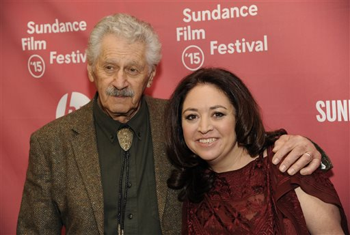 """Liz Garbus, right, director of the documentary film """"What Happened, Miss Simone,"""" poses with singer Nina Simone's longtime guitarist/musical director Al Schackman at the premiere of the film on the opening night of the 2015 Sundance Film Festival on Thursday, Jan. 22, 2015, in Park City, Utah. (Photo by Chris Pizzello/Invision/AP)"""