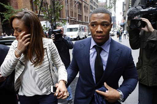 In this Nov. 5, 2014, file photo, Ray Rice arrives with his wife Janay Palmer for an appeal hearing of his indefinite suspension from the NFL in New York. A former FBI director hired to look into how the NFL pursued evidence in the Ray Rice abuse case says the league should have investigated the incident more thoroughly before it initially punished the player. Robert Mueller released the report Thursday, Jan. 8, 2015, saying that the NFL had substantial information about the case and could have obtained more. (AP Photo/Jason DeCrow, File)