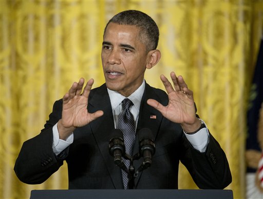 President Barack Obama gestures as he speaks in the East Room of the White House in Washington, Friday, Jan. 30, 2015, calling for an investment to move away from one-size-fits-all-medicine, toward an approach that tailors treatment to your genes.  (AP Photo/Pablo Martinez Monsivais )