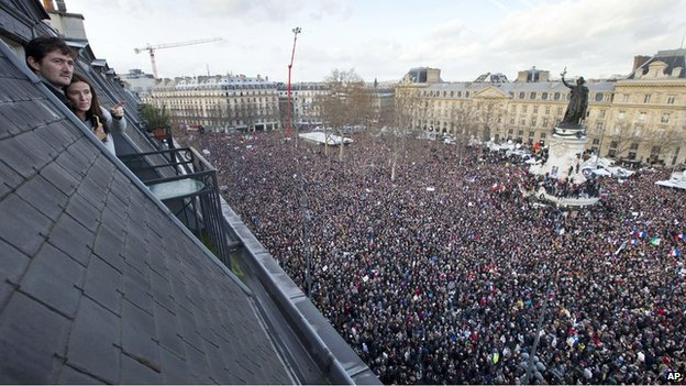 More than three million people marched across France after the murder of 17 people in Paris (AP Photo)