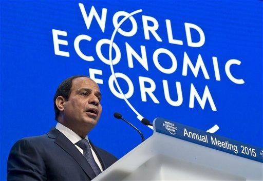 "Egyptian President Abdel-Fattah el-Sissi speaks during the panel ""Egypt in the World"" at the World Economic Forum in Davos, Switzerland, Thursday, Jan. 22, 2015. The meeting runs from Jan. 21 through Jan. 24. (AP Photo/Michel Euler)"