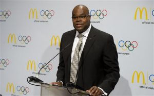 In this Jan. 13, 2012, file photo, Don Thompson, McDonald's President and Chief Operating Officer, speaks during a news conference in Innsbruck, Austria. McDonald's Corp. has tapped Steve Easterbrook as its new president and CEO to succeed Thompson, who has helmed the burger chain about two and a half years, the company announced Wednesday, Jan. 28, 2015. (Kerstin Joensson/AP Images for McDonald's, File)