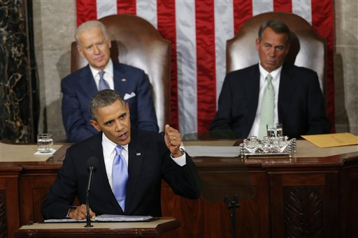 FILE - In this Jan. 28, 2014 file photo, Vice President Joe Biden and House Speaker John Boehner of Ohio listens as President Barack Obama gives his State of the Union address on Capitol Hill in Washington. For the first time in his presidency, Obama stands before a Republican dominated Congress angry over his growing list of veto threats and opposed to the agenda he presents to them.  (AP Photo/Charles Dharapak, File)