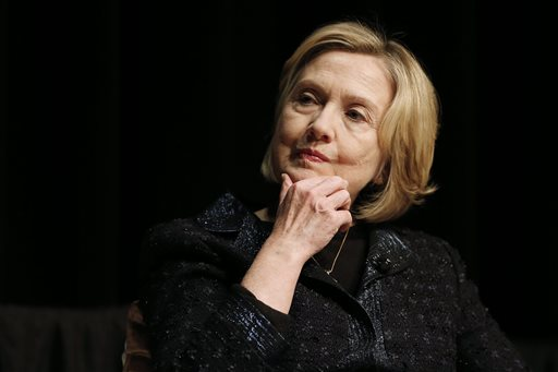 Former U.S. Secretary of State Hillary Rodham Clinton contemplates during a question and answer session with Victor Dodig, president and CEO of tCIBC, at a Winnipeg Chamber of Commerce luncheon in Winnipeg, Canada, Wednesday, Jan. 21, 2015. (AP Photo/The Canadian Press, John Woods)