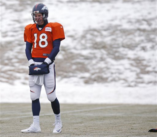 Denver Broncos quarterback Peyton Manning keeps his hands warm in a pouch while waiting to throw the football during practice for the team's NFL divisional playoff game against the Indianapolis Colts Wednesday, Jan. 7, 2015, in Englewood, Colo. (AP Photo/David Zalubowski)