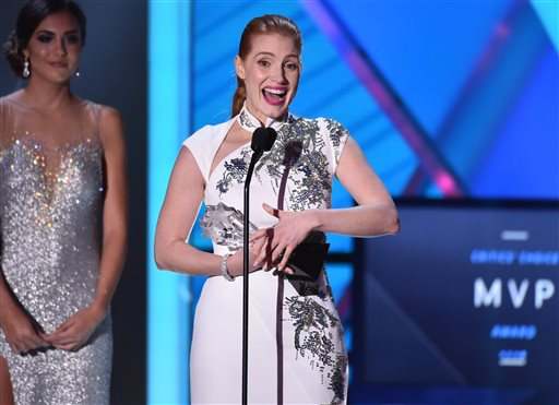 Jessica Chastain accepts the Critics' Choice MVP award at the 20th annual Critics' Choice Movie Awards at the Hollywood Palladium on Thursday, Jan. 15, 2015, in Los Angeles. (Photo by John Shearer/Invision/AP)