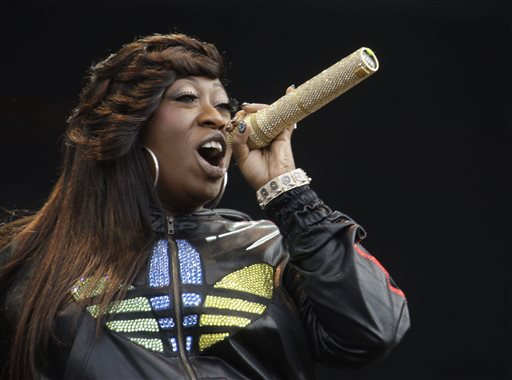 "In this Saturday, July 3, 2010 file photo, Missy Elliot performs onstage at the Wireless Festival in Hyde Park, London. Missy Elliott is going to ""Work It"" at the Super Bowl with Katy Perry. A person familiar with the plans for Sunday's halftime show tells The Associated Press that Grammy winner Elliott is slated to make a surprise appearance during Perry's performance, Thursday, Jan. 29, 2015. (AP Photo/Joel Ryan, File)"