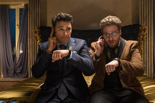 "This photo released by Sony - Columbia Pictures shows James Franco, left, as Dave and Seth Rogen as Aaron in a scene from Columbia Pictures' ""The Interview."" Netflix's chief content officer says the streaming service wants to make Sony's ""The Interview"" available to its 53 million worldwide subscribers.  (AP Photo/Sony - Columbia Pictures, Ed Araquel)"