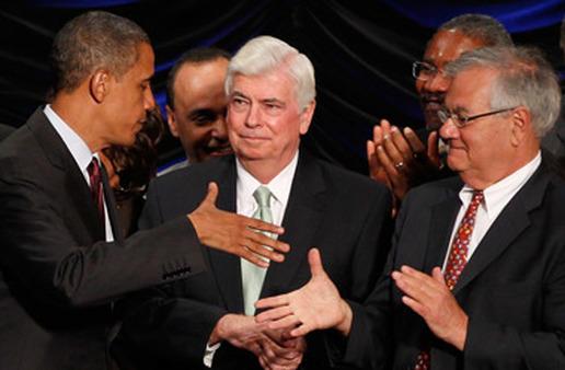Former Sen. Chris Dodd, center, with President Barack Obama and former Rep. Barney Frank. (AP Photo)
