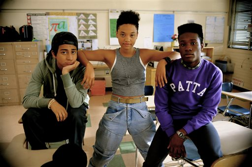 """This photo provided by courtesy of the Sundance Institute shows, from left, Tony Revolori, Kiersey Clemons, and Shameik Moore, in a scene from the film, """"Dope.""""  The movie, directed by Rick Famuyiwa, is included in the U.S. Dramatic Competition at the 2015 Sundance Film Festival. (AP Photo/Sundance Institute, David Moir)"""