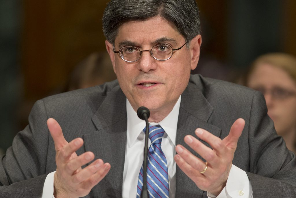 In this Feb. 13, 2013, file photo, Jack Lew testifies at his confirmation hearing to be the new Treasury Secretary in Washington. (AP Photo/J. Scott Applewhite, File)