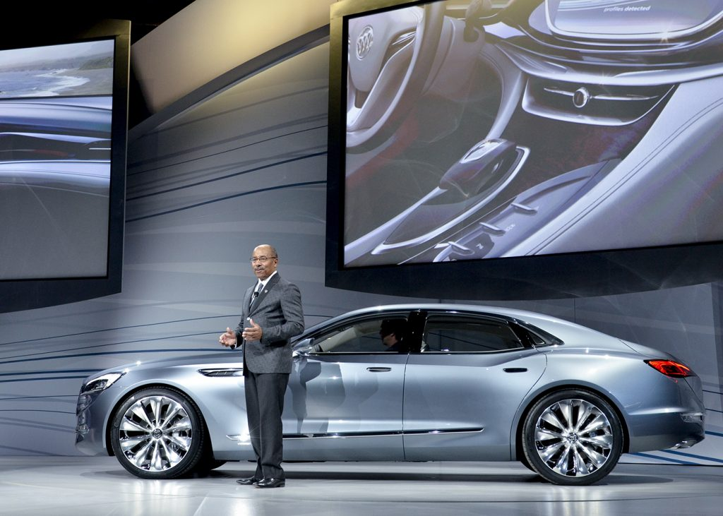 Ed Welburn, vice president of Global Design for General Motors, talks about the Avenir, Buick's concept sedan at the Buick Global Reveal Event in Detroit, Mich. (Freddie Allen/NNPA)