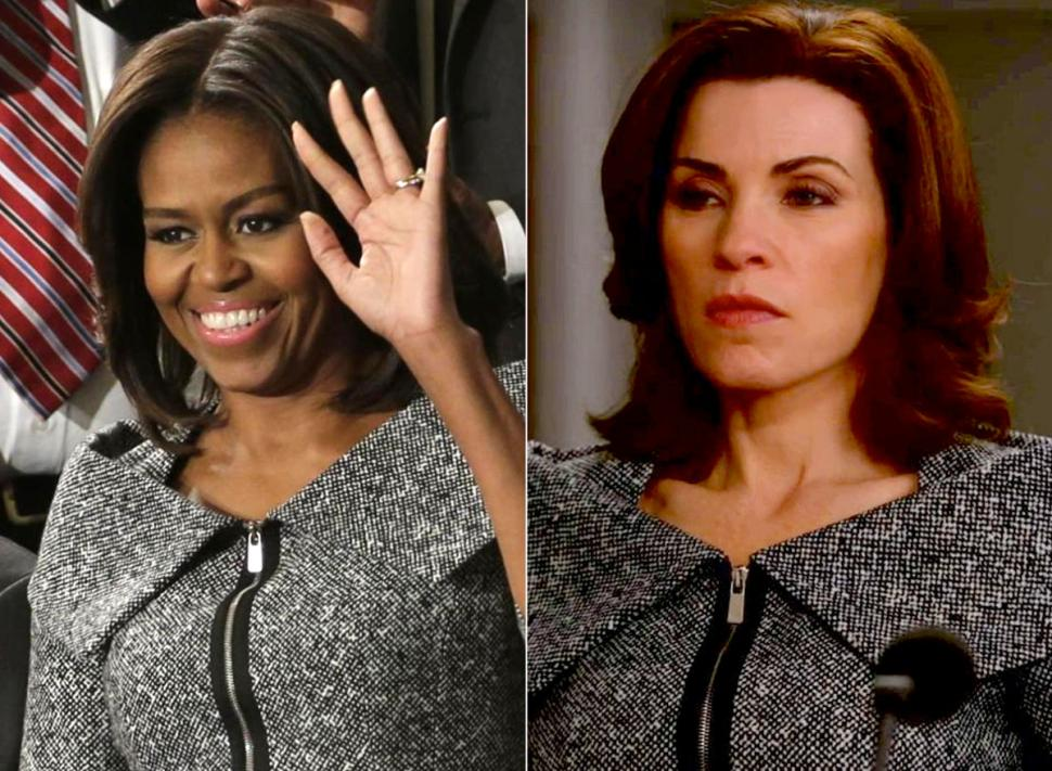 Michelle Obama at the State of the Union and Julianna Margulies wearing the same Michael Kors suit in an episode of 'The Good Wife.' (J. Scott Applewhite/AP/CBS)