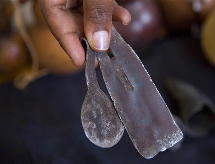 Some of the blunt and dirty tools used to carry out female circumcision in Tanzania, where 15 percent of women and girls are cut.(AP Photo)