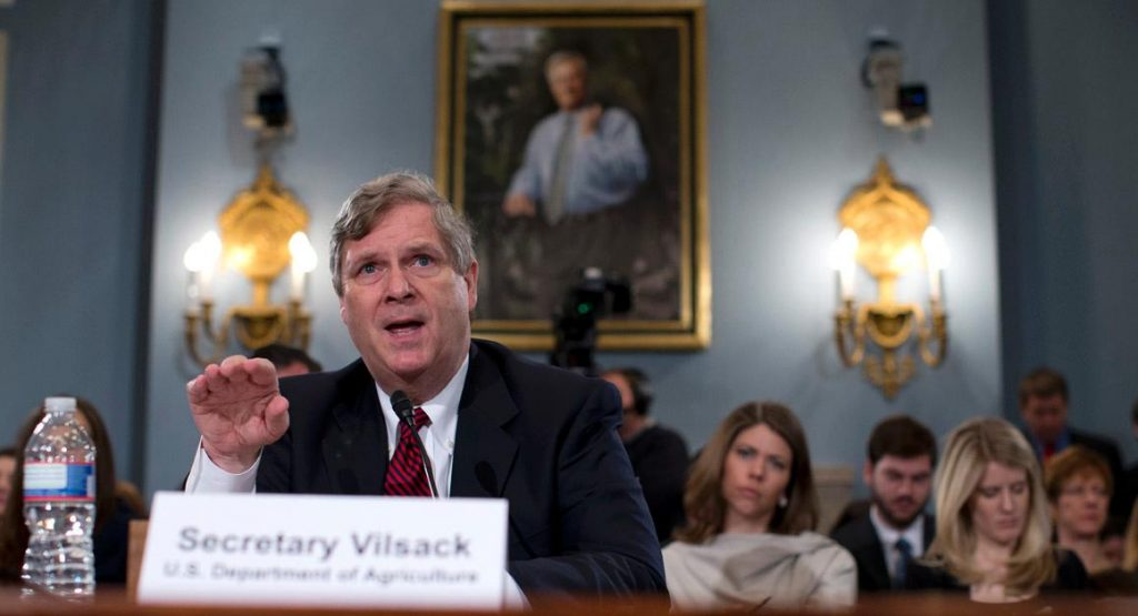 Agriculture Secretary Tom Vilsack testifies on Capitol Hill in Washington, Tuesday, March 5, 2013, before the House Agricultural Committee hearing to review the state of the rural economy. (AP Photo/Evan Vucci)