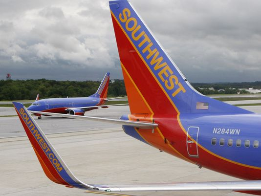 Southwest Airlines jets are seen at Baltimore-Washington International Airport on May 16, 2008. (Charles Dharapak/AP Photo)