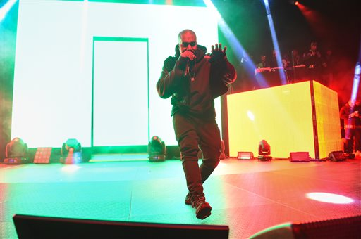 """Kanye West performs at HOT 97's """"The Tip Off"""" at Madison Square Garden on Thursday, Feb 12, 2015, in New York. (Photo by Scott Roth/Invision/AP)"""
