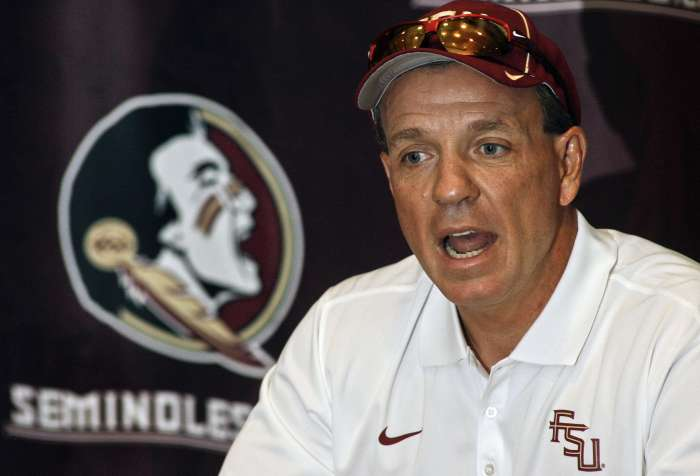 Florida State head coach Jimbo Fisher speaks to members of the media during an NCAA college football media day on Sunday, Aug. 10, 2014, in Tallahassee. (AP Photo)