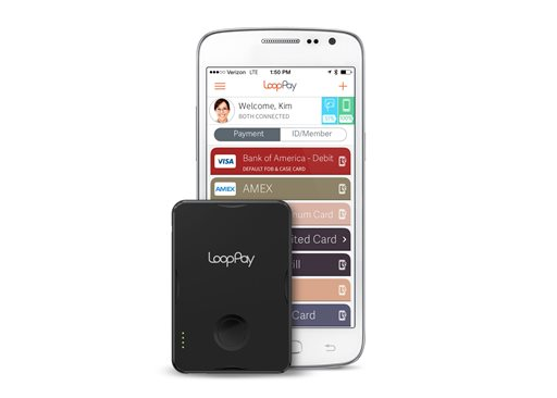 This product image provided by LoopPay shows the LoopPay card, front, and the LoopPay app for Android. Samsung is buying mobile-payment startup LoopPay as the Korean phone maker steps up its rivalry with Apple and its payment system on iPhones. (AP Photo/LoopPay)