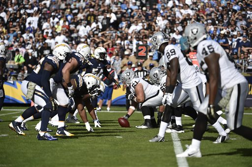 In this Sunday, Nov. 16, 2014 file photo,The Oakland Raiders and San Diego Chargers face off against each other during the second half of an NFL football game in San Diego. The Oakland Raiders and San Diego Chargers are planning a shared stadium in the Los Angeles area if both teams fail to get new stadium deals in their current hometowns. The teams announced plans for the $1.7 billion stadium in Carson in a joint statement Thursday night, Feb. 19, 2015. (AP Photo/Denis Poroy, File)