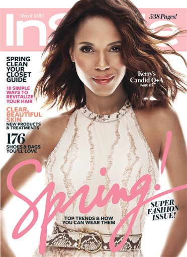 In this image released by InStyle, actress Kerry Washington appears on the cover of the March 2015 issue. Washington took to social media late Wednesday to gush about her March cover for the magazine, but her skin tone in an image she posted on Instagram and Twitter appeared significantly lighter than in real life.  InStyle said in a statement Thursday that it fielded complaints from people concerned that Washington's skin tone was deliberately lightened. (AP Photo/InStyle)