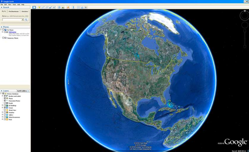 This screen grab taken from Google Earth shows the main page of the satellite imaging tool. (AP Photo)